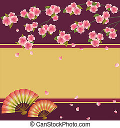 kirschbaum, japanisches , fans , sakura, hintergrund