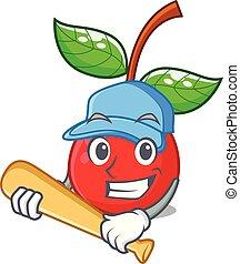 kirschen, fruechte, baseball, korb, spielende , maskottchen