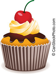kirschen, vektor, cupcake
