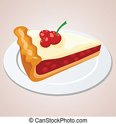 kirsebær, stykke, pie