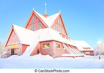 Kiruna cathedral church Architecture Sweden at dusk twilight...