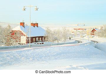 Kiruna Cityscape Train station - Kiruna Cityscape with Train...