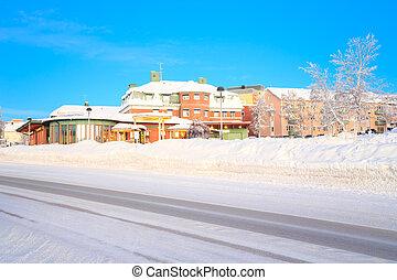 Kiruna Cityscape Transportation Center in Winter Lapland ...