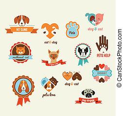 kisállat, vektor, ikonok, -, korbácsok, és, kutyák,...