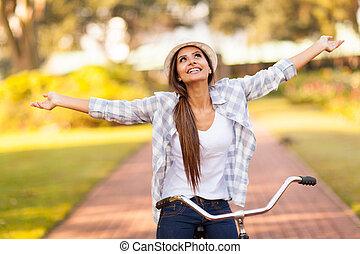 kisasszony, élvez, elnyomott bicikli