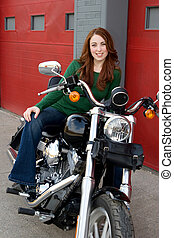 kisasszony, ülés, képben látható, motorkerékpár
