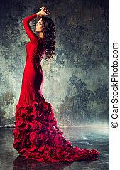 kisasszony, alatt, piros