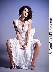 kisasszony, alatt, retro, bridal ruha