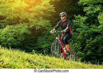 kisasszony, elnyomott bicikli