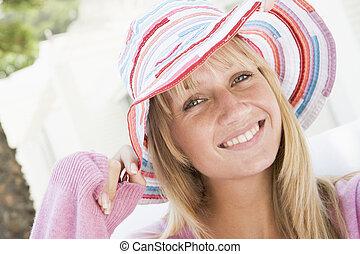 kisasszony, fárasztó, szalmaszál kalap