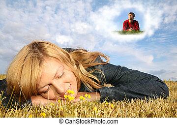 kisasszony, fekszik, fű, és, fiú, alatt, álmodik, felhő, kollázs