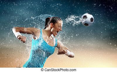 kisasszony, foci játékos