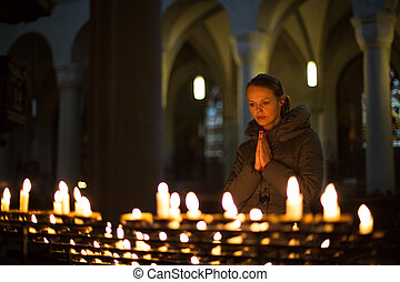 kisasszony, imádkozás, alatt, egy, templom