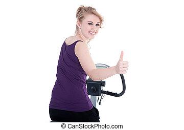 kisasszony, kerékpározás, mosoly, lapozgat, belétek