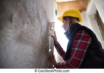 kisasszony, munkás, képben látható, a, szerkesztés, házhely.