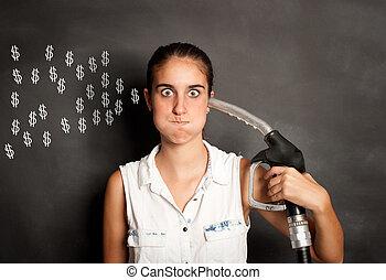kisasszony, noha, egy, üzemanyagpumpa, fúvóka