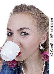 kisasszony, noha, egy, csésze kávécserje