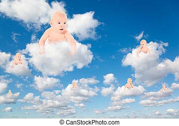 kisbabák, white, bolyhos, elhomályosul, alatt, kék ég, kollázs