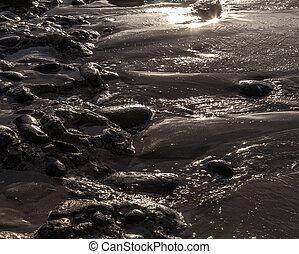 kiselsten, sten, strand, in, morgon, lätt