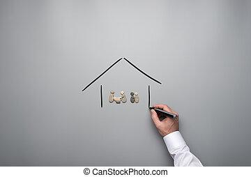 kiselstenar, gjord, familj, hus, hand, oavgjord