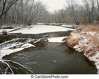Kishwaukee River Winter Landscape Illinois