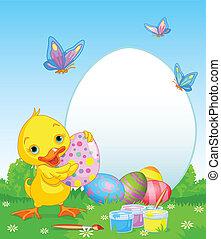 kiskacsa, húsvét, festmény, eg