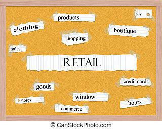 kiskereskedelem, corkboard, szó, fogalom