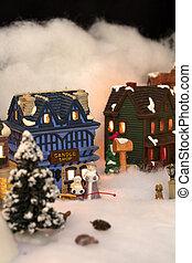 kisméretű, karácsony, falu, színhely