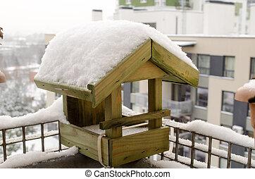kismadár, faház, hó, tető, kicsi, bőséges