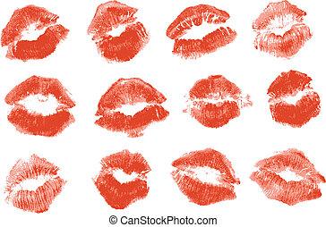 kiss., aislado, lápiz labial rojo