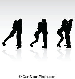 kiss boy and girl silhouette