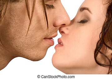 kiss - couple preparing for kis