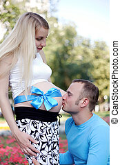kiss father pregnant barter in the stomach