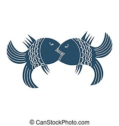 Kiss. Fodder fish vector icon.