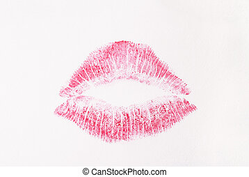 kiss - Kuss - red kiss on white paper - roter Kussmund auf...