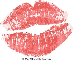 Lipstick kiss isolated on white background