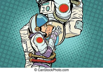 Kiss love couple male and female astronauts. Man and woman family. Pop art retro vector illustration comic cartoon kitsch drawing