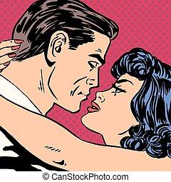 Kiss love movie romance heroes lovers man and woman pop art...