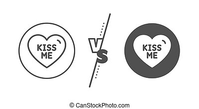 Kiss me line icon. Sweet heart sign. Valentine day love. Vector