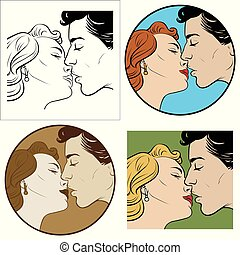 kiss of a man and a woman - kiss of loving men and women....
