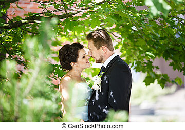 Kiss of bride and groom in their wedding day