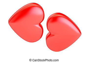 Kiss of hearts, valentine's day concept. 3D rendering