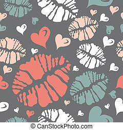 Kiss print and heart pattern - Valentines love lipstick kiss...