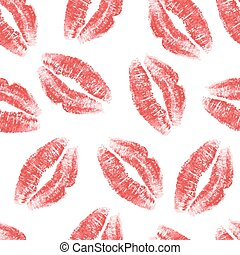 Kiss seamless - Seamless pattern with red lips on white...