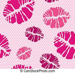 Kiss seamless pattern - Seamless kiss pattern in different...