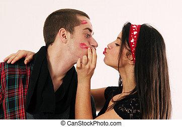 Kiss Stealer - Insatiable pretty brunette girl stealing ...
