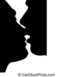 Kiss - Silhouette kissed in love the man and woman