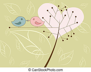 Kissing birds - Vector picture of kissing birds