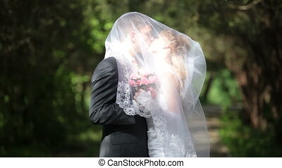 kissing bride under veil