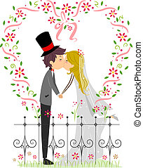 Illustration of a Couple Kissing in a Garden